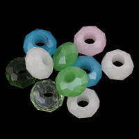 Crystal Large Hole Bead, faceted, mixed colors, 8x13mm, Hole:Approx 5mm, 10PCs/Bag, Sold By Bag