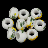 Porcelain Large Hole Bead, 8x14mm, Hole:Approx 6mm, 10PCs/Bag, Sold By Bag