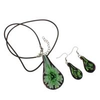 Clearance Fashion Jewelry Sets, oorbel & halsketting, Lampwork, met rubberen koord, ijzer karabijn, ijzer oorbel haak, met 5cm extender keten, handgemaakt, 32x57x12mm,16x51x8mm, Verkocht door Stel