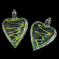 Clearance Jewelry Pendants, Lampwork, Heart, handmade, 31x47x16mm, Hole:Approx 6mm, Sold By PC