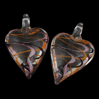 Clearance Jewelry Pendants, Lampwork, Heart, handmade, 31x48x16mm, Hole:Approx 7mm, Sold By PC