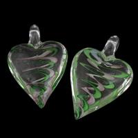 Klaring sieraden Hangers, Lampwork, Hart, handgemaakt, 31x46x16mm, Gat:Ca 8mm, Verkocht door PC