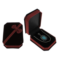 Velveteen Jewelry Set Box, pendant & necklace, with Cardboard, Rectangle, 75x98x39mm, Sold By PC