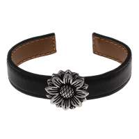 Clearance Fashion Bracelet, PU, with Iron, antique silver color plated, 67x22x57mm, Inner Diameter:Approx 62x50mm, Sold By Strand