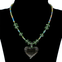Clearance Fashion Necklace, Lampwork, with Crystal & Glass Seed Beads, iron lobster clasp, Heart, handmade, 37x44x10mm, Sold Per Approx 15.5 Inch Strand