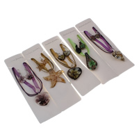 Clearance Fashion Jewelry Sets, earring & necklace, Lampwork, with Waxed Linen Cord & Etamine, with 4cm extender chain, handmade, mixed, 27x58x14mm-53x51x10mm, Length:Approx 17 Inch, Sold By Set
