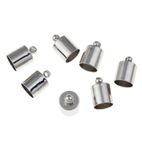 Iron End Cap, Column, platinum color plated, lead & cadmium free, 8x12mm, Hole:Approx 1.7mm, Inner Diameter:Approx 8mm, 100PCs/Bag, Sold By Bag