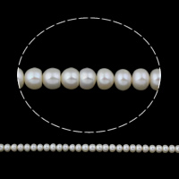 Clearance Freshwater Pearl Beads, Baroque, natural, white, 6-7mm, Hole:Approx 0.8mm, Sold Per Approx 14.5 Inch Strand