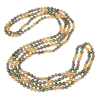 Clearance Fashion Necklace, Freshwater Pearl, Potato, 2-strand, 6-7mm, Sold Per Approx 76 Inch Strand