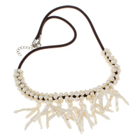 Clearance Fashion Necklace, Freshwater Pearl, with Nylon Cord, brass lobster clasp, with 4cm extender chain, platinum color plated, natural, 12x26x4mm, Sold Per Approx 17 Inch Strand