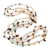 Clearance Fashion Necklace, Freshwater Pearl, with Gemstone, natural, 2-strand, 6-7mm, Sold Per Approx 57 Inch Strand