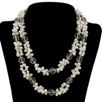 Clearance Fashion Necklace, Freshwater Pearl, with Crystal & Brass, plated, faceted, 11x11mm, Sold Per Approx 16.5 Inch Strand