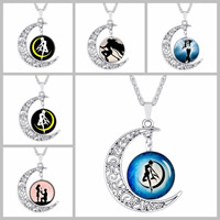 Time Gem Jewelry Necklace, Zinc Alloy, with iron chain & Glass, Moon, antique silver color plated, valentino chain & different designs for choice & hollow & decal, lead & cadmium free, 35x40mm, Sold Per Approx 17 Inch Strand