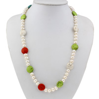 Clearance Fashion Necklace, Freshwater Pearl, with Turquoise, brass spring ring clasp, natural, 16x6mm, Sold Per Approx 22 Inch Strand