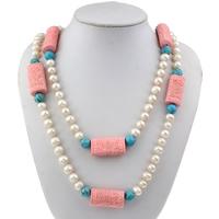 Klaring Fashion Ketting, Zoetwater Parel, met Synthetische Turquoise & Synthetische Coral, natuurlijk, 17x33x12mm, Per verkocht Ca 46 inch Strand