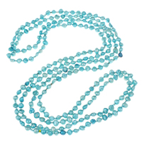 Clearance Fashion Necklace, Freshwater Pearl, with Glass Seed Beads, 2-strand, 5-6mm, Sold Per Approx 62.5 Inch Strand