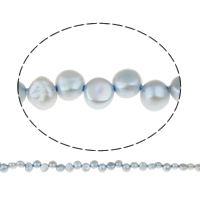 Clearance Jewelry Beads, Freshwater Pearl, Baroque, blue, 6-7mm, Hole:Approx 0.8mm, Sold Per Approx 15.5 Inch Strand