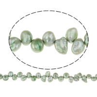 Clearance Jewelry Beads, Freshwater Pearl, Keishi, green, 6-7mm, Hole:Approx 0.8mm, Sold Per Approx 15.5 Inch Strand