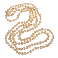 Clearance Fashion Necklace, Freshwater Pearl, Button, natural, white, 6-7mm, Sold Per Approx 47 Inch Strand
