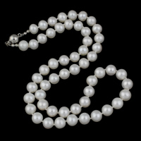 Clearance Fashion Necklace, Freshwater Pearl, brass box clasp, Potato, natural, white, 8-9mm, Sold Per Approx 18 Inch Strand