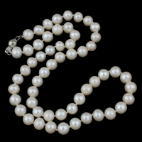 Clearance Fashion Necklace, Freshwater Pearl, brass box clasp, Potato, natural, white, 7-8mm, Sold Per Approx 16.5 Inch Strand