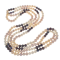 Clearance Fashion Necklace, Freshwater Pearl, Potato, 2-strand, 7-8mm, Sold Per Approx 61 Inch Strand