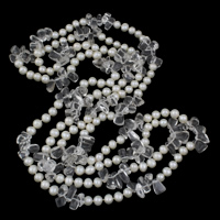 Clearance Fashion Necklace, Freshwater Pearl, with Clear Quartz, natural, 7-8mm, Sold Per Approx 56.5 Inch Strand