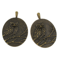 Zinc Alloy Pendant, Flat Oval, antique bronze color plated, lead & cadmium free, 41x60x4mm, Hole:Approx 4x8mm, Sold By PC