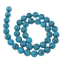 Clearance Turquoise Beads, 8mm, Hole:Approx 1mm, 41PCs/Strand, Sold Per Approx 15.5 Inch Strand
