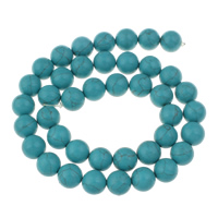 Clearance Turquoise Beads, 10mm, Hole:Approx 1mm, 41PCs/Strand, Sold Per Approx 15.5 Inch Strand