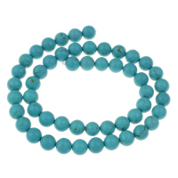 Clearance Turquoise Beads, 8mm, Hole:Approx 1mm, 51PCs/Strand, Sold Per Approx 15.5 Inch Strand
