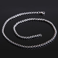 Stainless Steel Chain Necklace different length for choice   rolo chain original color 3mm