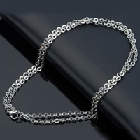 Stainless Steel Chain Necklace different length for choice   oval chain original color 2.4mm