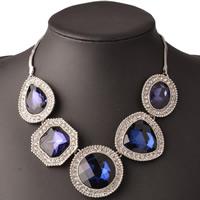 Австрийских кристаллов ожерелья, Латунь, с Австрийский хрусталь, с 5cm наполнитель цепи, Платиновое покрытие платиновым цвет, с Австралией горный хрусталь & граненый, не содержит никель, свинец, 400mm, Продан через Приблизительно 15.5 дюймовый Strand