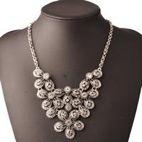 Австрийских кристаллов ожерелья, Латунь, с 5cm наполнитель цепи, Форма цветка, плакированный цветом под старое серебро, цепь из двойных кольц & с Австралией горный хрусталь, не содержит никель, свинец, 400mm, Продан через Приблизительно 15.5 дюймовый Strand