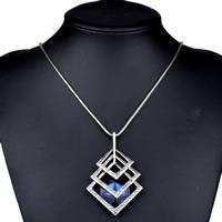 Австрийских кристаллов ожерелья, Латунь, с Австрийский хрусталь, с 5cm наполнитель цепи, Ромбическая форма, плакированный цветом под старое серебро, змея цепи & граненый, не содержит никель, свинец, 400mm, Продан через Приблизительно 15.5 дюймовый Strand