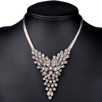 Австрийских кристаллов ожерелья, Латунь, с 5cm наполнитель цепи, Форма цветка, плакированный цветом под старое серебро, Елочка цепь & с Австралией горный хрусталь, не содержит никель, свинец, 400mm, Продан через Приблизительно 15.5 дюймовый Strand