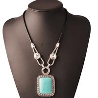 Австрийских кристаллов ожерелья, Латунь, с PU шнур & Австрийский хрусталь & Синтетическая бирюза, с 5cm наполнитель цепи, Прямоугольная форма, плакированный цветом под старое серебро, с Австралией горный хрусталь & граненый, не содержит никель, свинец, 400mm, Продан через Приблизительно 15.5 дюймовый Strand