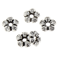 Zinc Alloy Spacer Beads Flower antique silver color plated lead   cadmium free 8x3mm Hole:Approx 1.5mm 100G/Bag