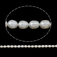 Rice Cultured Freshwater Pearl Beads, natural, white, Grade A, 7-8mm, Hole:Approx 0.8mm, Sold Per 14.5 Inch Strand