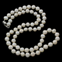 Freshwater Pearl Brass Necklace, brass lobster clasp, Potato, natural, white, 6-7mm, Sold Per Approx 20 Inch Strand