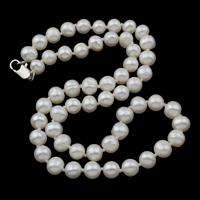 Naszyjnik ze słodkowodnych pereł na mosięznym łańcuchu, Perła naturalna słodkowodna, Mosiądz zapięcie szczypce homara, Ziemniak, Naturalne, biały, 6-7mm, sprzedawane na około 16.5 cal Strand