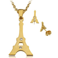 Fashion Stainless Steel Jewelry Sets, earring & necklace, Eiffel Tower, gold color plated, oval chain & with rhinestone, 18x28x2mm, 2x2.5x0.5mm, 8x12.5x13mm, Length:Approx 20 Inch, Sold By Set