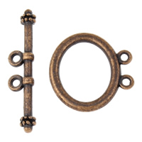 Zinc Alloy Toggle Clasp, antique copper color plated, lead & cadmium free, 21x21x2mm, 32x7x4mm, Hole:Approx 1.5mm, 20Sets/Bag, Sold By Bag