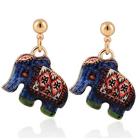 Zinc Alloy Drop Earring, stainless steel post pin, Elephant, gold color plated, enamel & decal, lead & cadmium free, 20mm, Sold By Pair