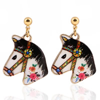 Zinc Alloy Drop Earring, stainless steel post pin, Horse, gold color plated, enamel & decal, lead & cadmium free, 20mm, Sold By Pair