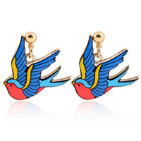 Zinc Alloy Drop Earring, stainless steel post pin, swallow, gold color plated, enamel & decal, lead & cadmium free, 20mm, Sold By Pair