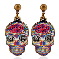 Zinc Alloy Drop Earring, stainless steel post pin, Skull, antique bronze color plated, enamel & decal, lead & cadmium free, 20mm, Sold By Pair
