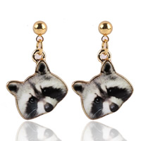 Zinc Alloy Drop Earring, stainless steel post pin, Fox, gold color plated, enamel & decal, lead & cadmium free, 20mm, Sold By Pair