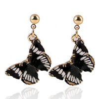 Zinc Alloy Drop Earring, stainless steel post pin, Butterfly, gold color plated, enamel & decal, lead & cadmium free, 20mm, Sold By Pair